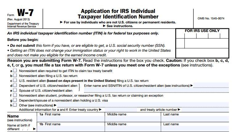 IRS W-7 ITIN header