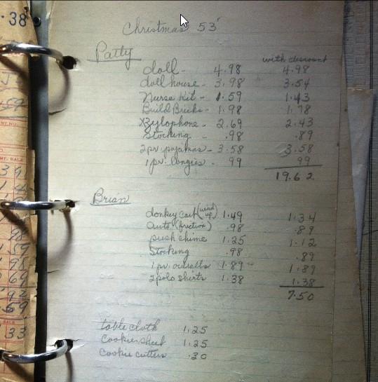 Nonas Xmas List 1953